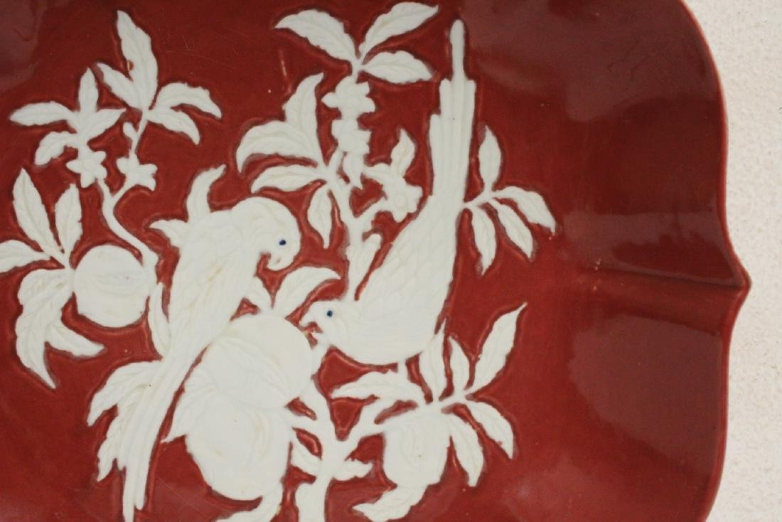 Chinese red on white porcelain charger - 4