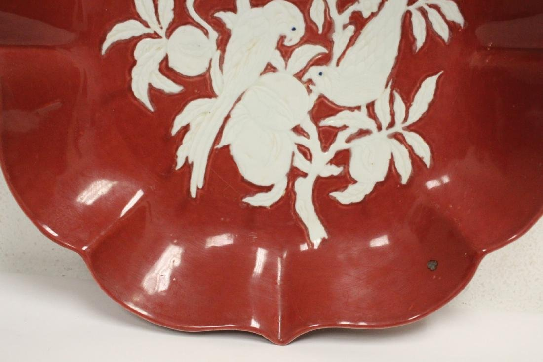 Chinese red on white porcelain charger - 5