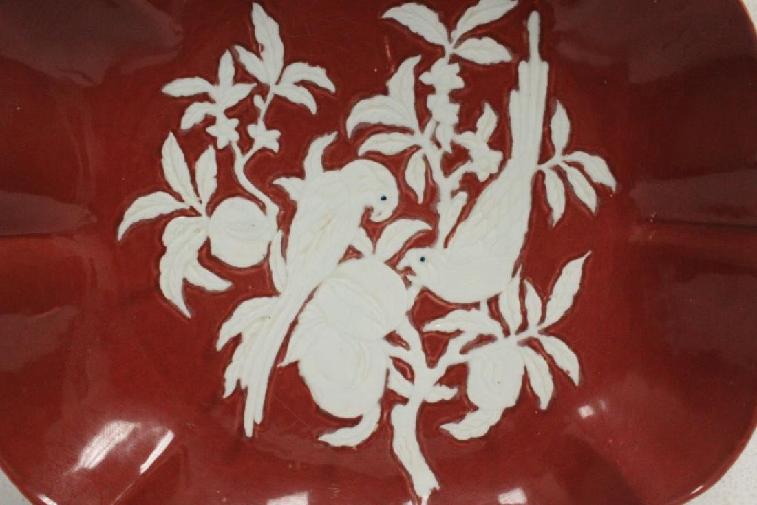 Chinese red on white porcelain charger - 6