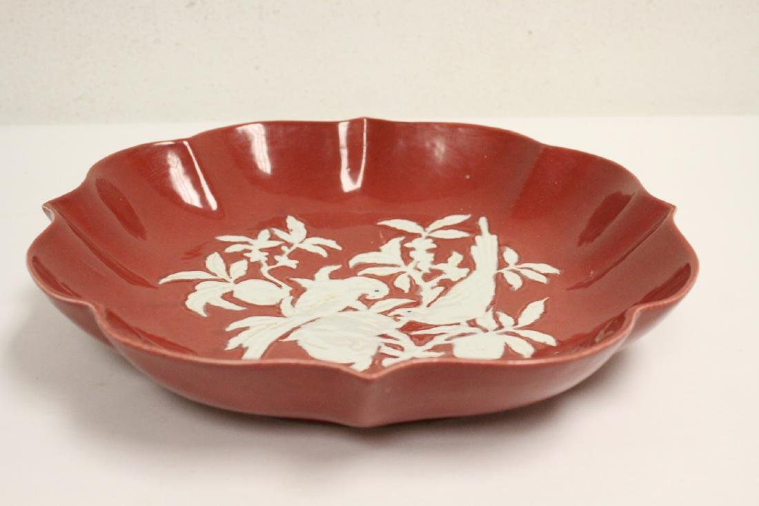 Chinese red on white porcelain charger - 8
