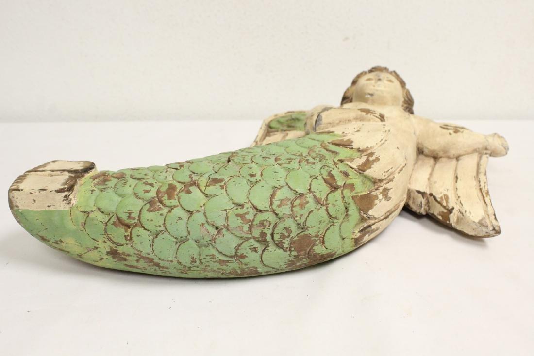 Unusual wood carved angel - 10