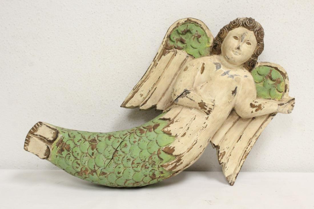 Unusual wood carved angel