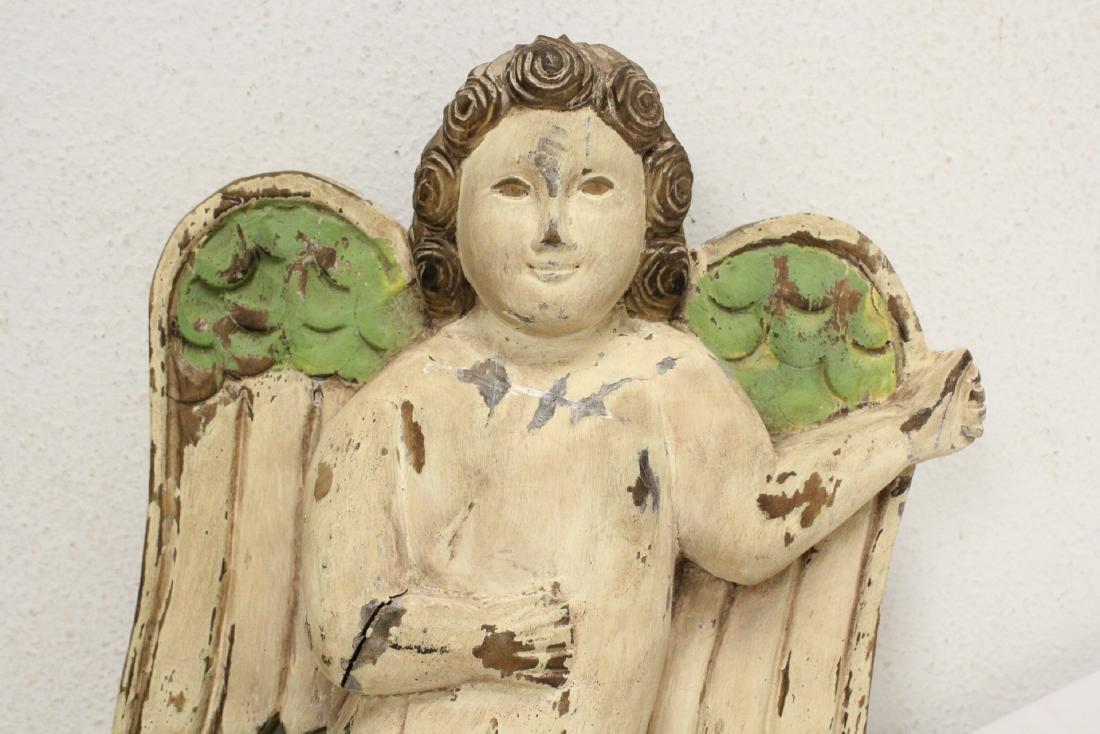 Unusual wood carved angel - 3