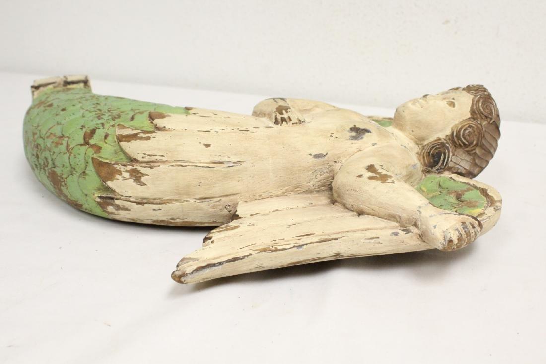 Unusual wood carved angel - 9