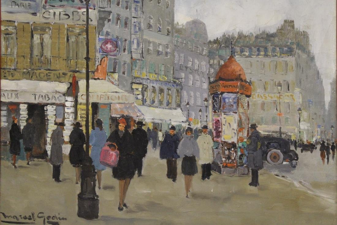 "Oil on canvas ""Paris street scene"" - 2"