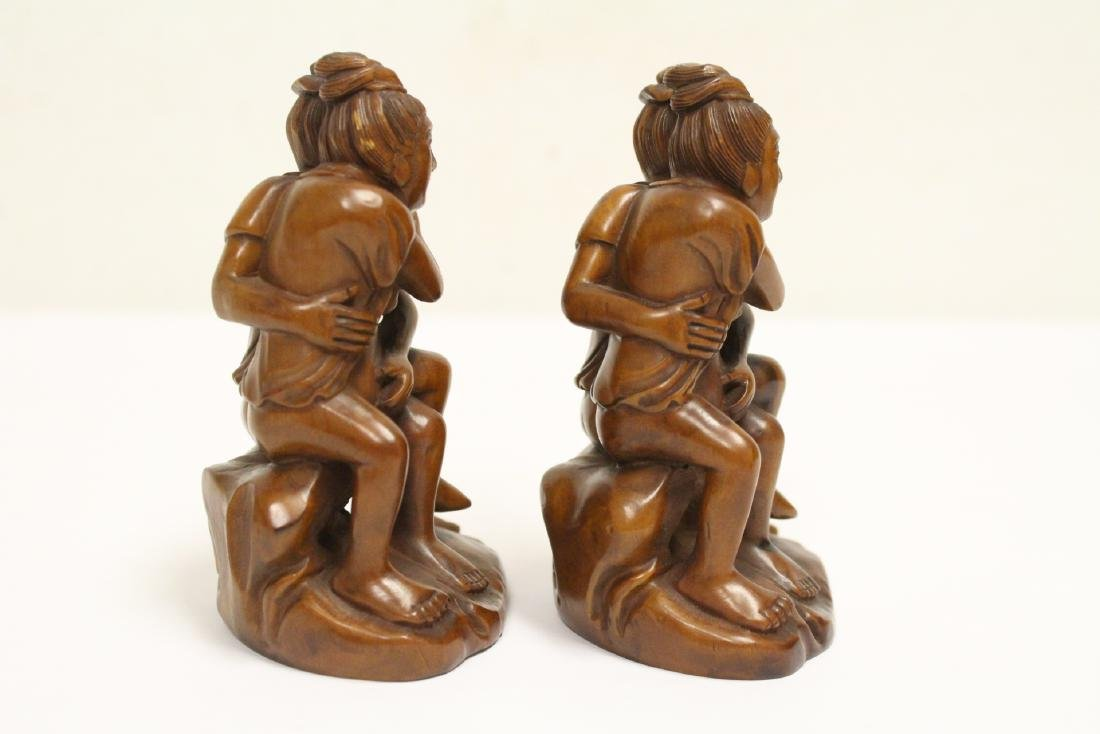 2 huangyang wood carved figures - 3
