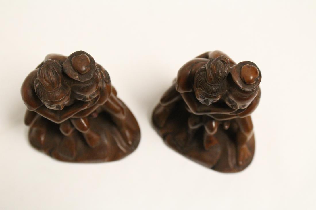 2 huangyang wood carved figures - 4