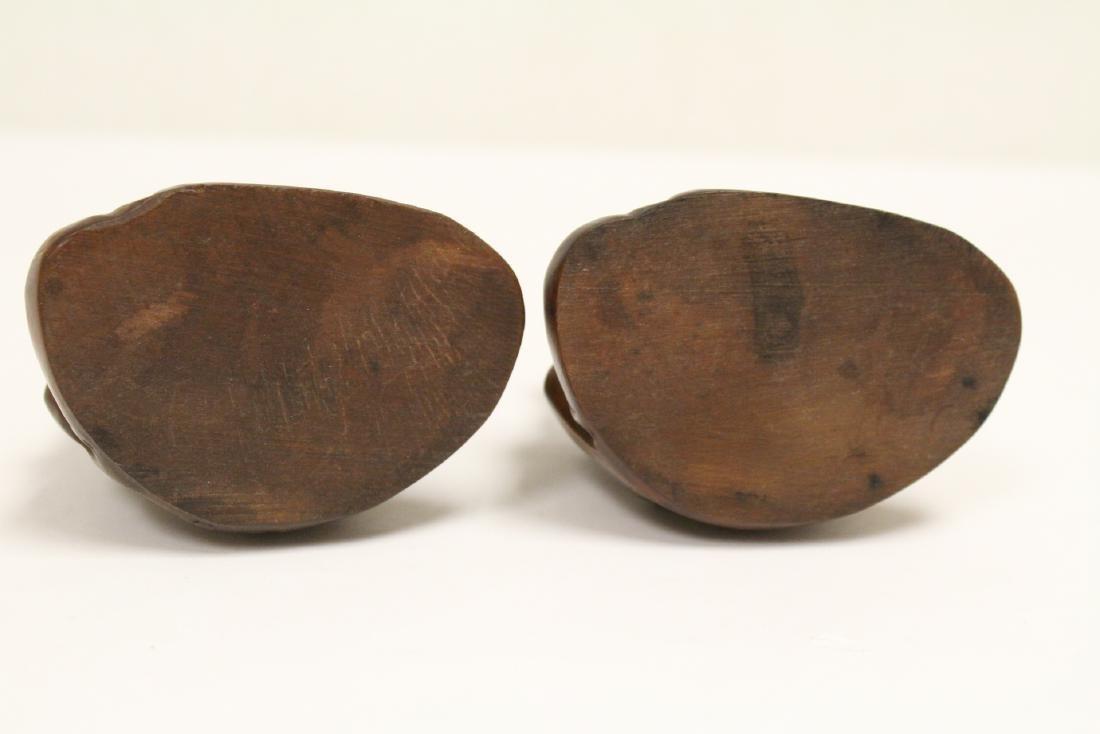 2 huangyang wood carved figures - 5