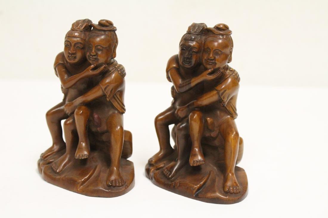 2 huangyang wood carved figures - 6