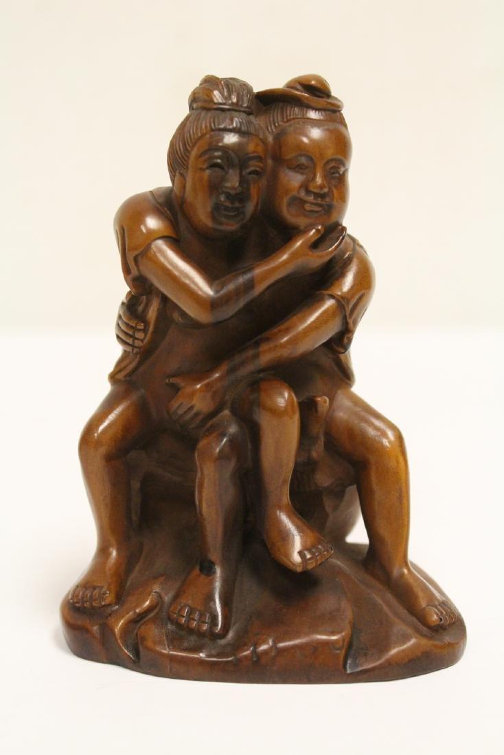 2 huangyang wood carved figures - 7