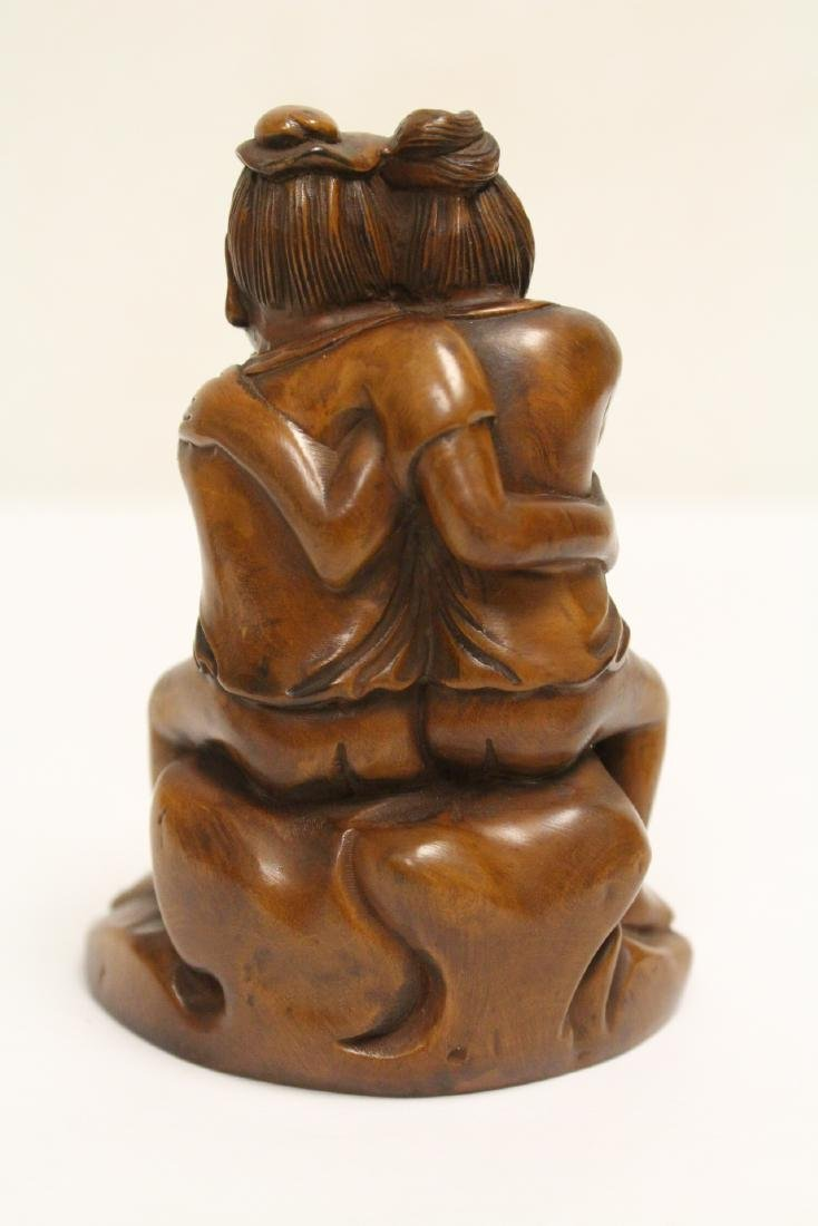 2 huangyang wood carved figures - 8