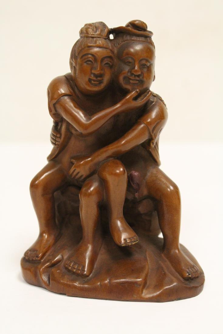 2 huangyang wood carved figures - 9