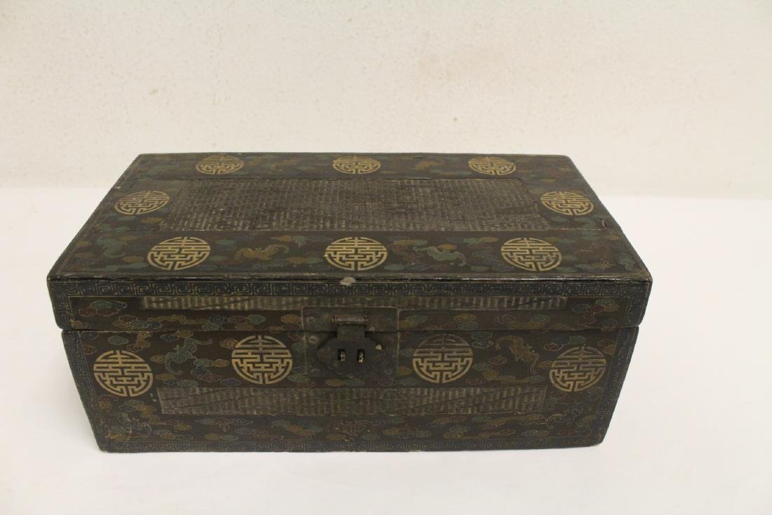 Pair Chinese porcelain tea bowls with lacquer box - 10