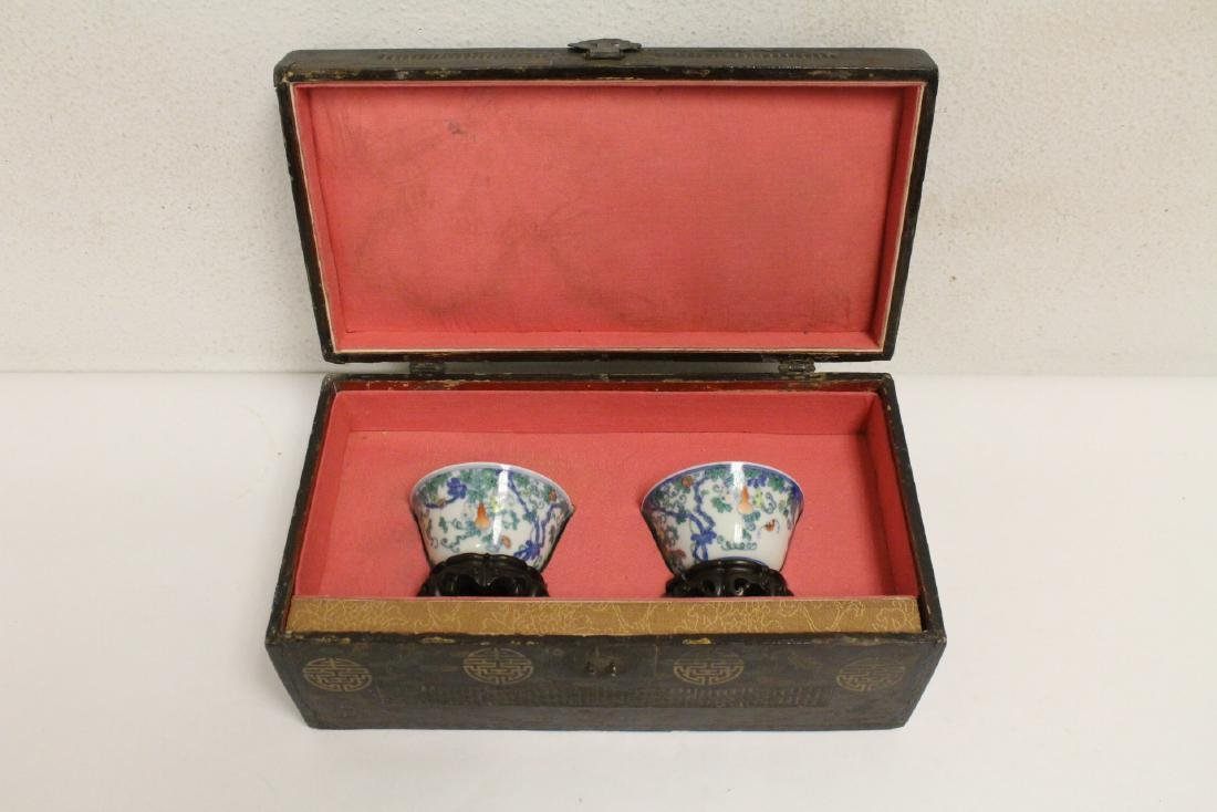 Pair Chinese porcelain tea bowls with lacquer box