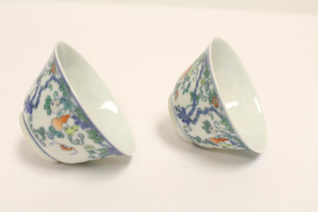 Pair Chinese porcelain tea bowls with lacquer box - 9