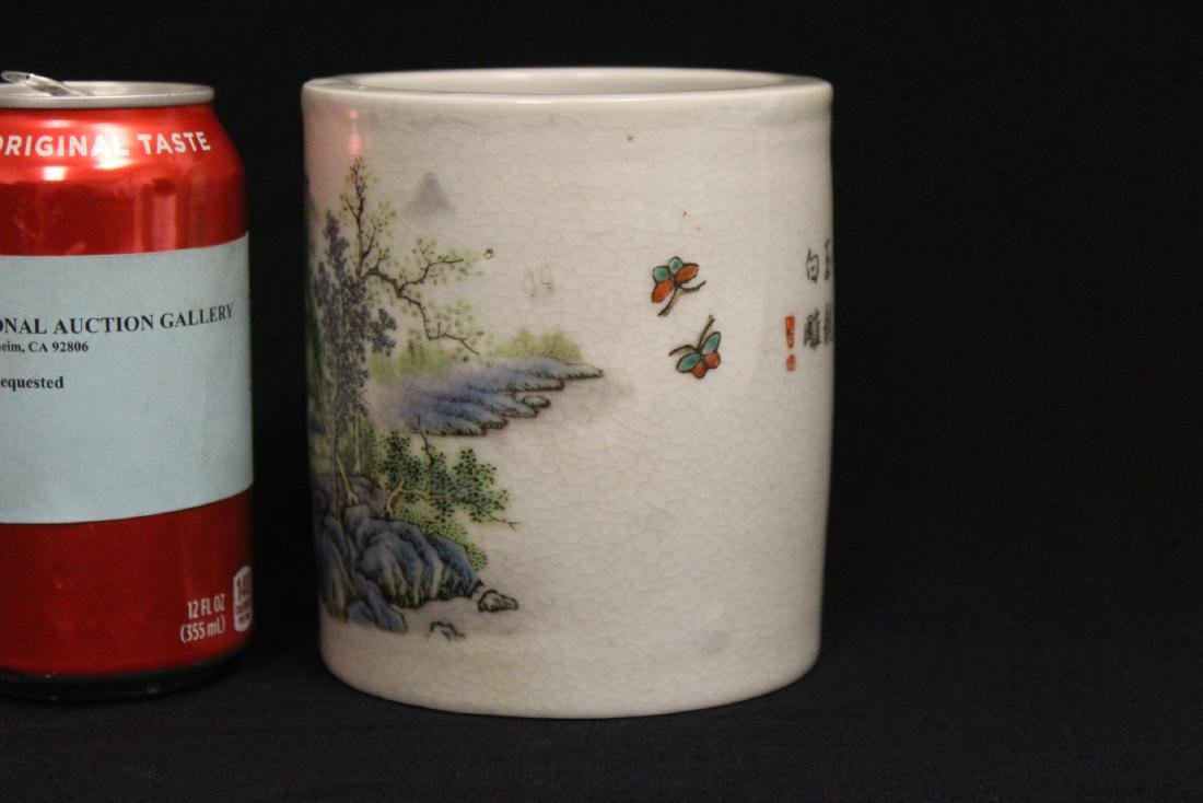Chinese famille rose porcelain brush holder - 2