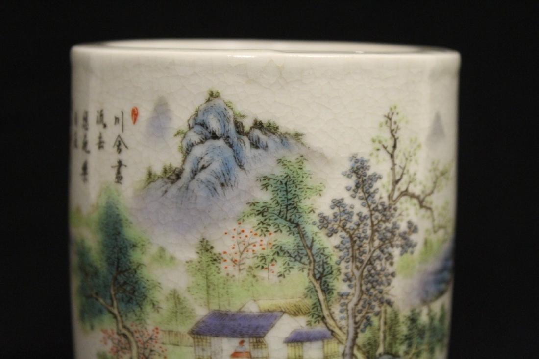 Chinese famille rose porcelain brush holder - 7