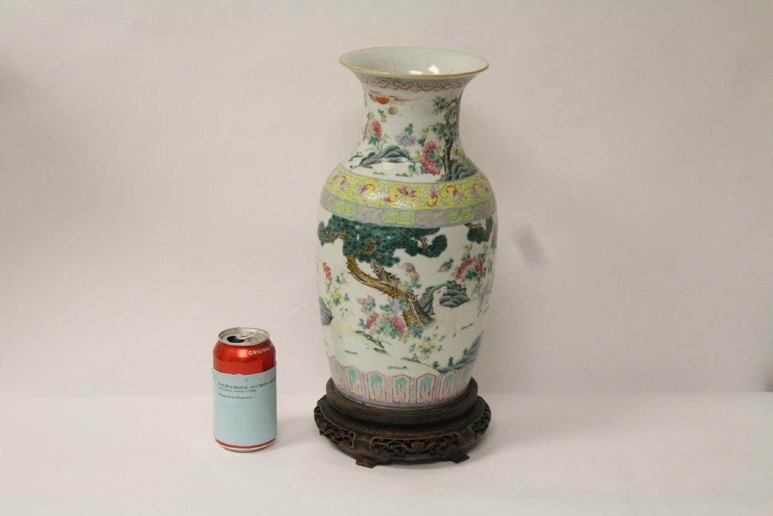 Chinese 18th/19th c. famille rose vase with stand,