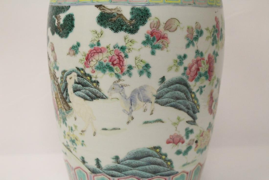 Chinese 18th/19th c. famille rose vase with stand, - 6