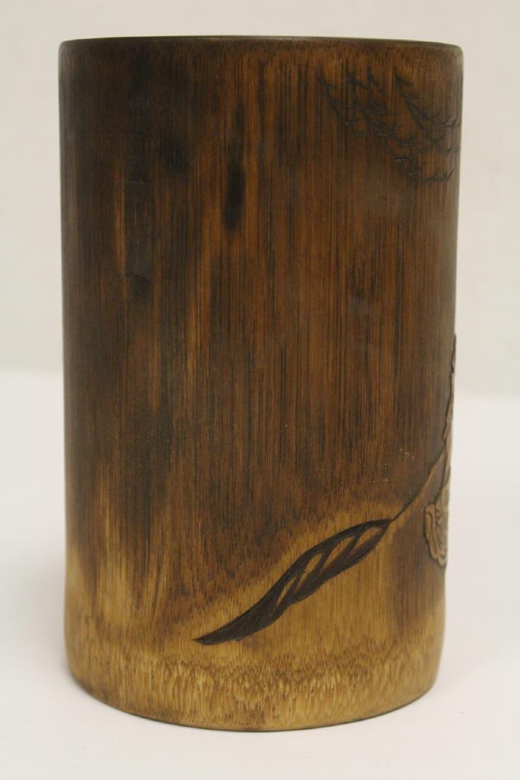 Bamboo carved brush holder - 5