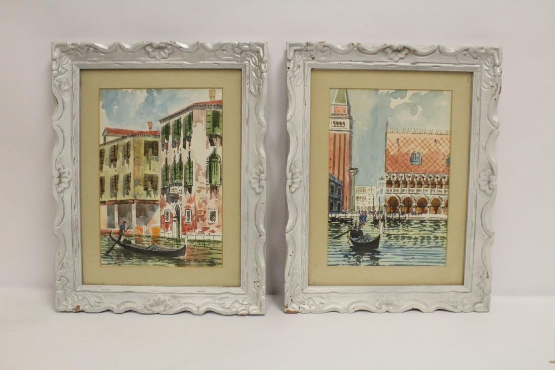 "2 framed watercolor ""Venice"""