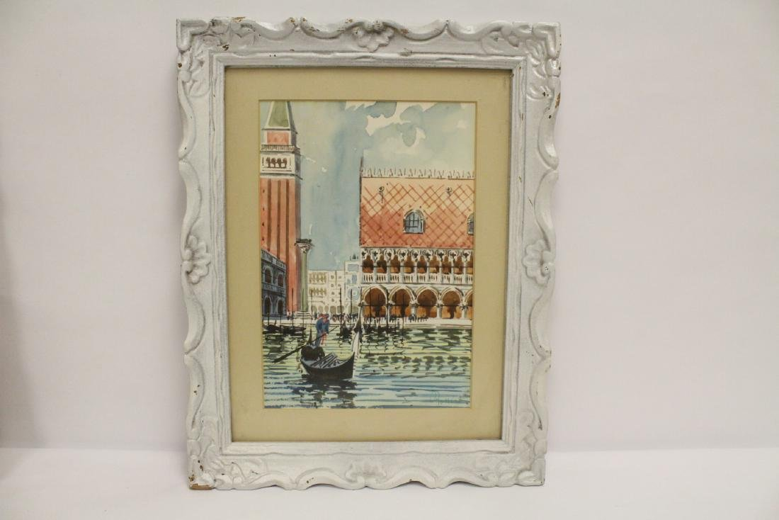 "2 framed watercolor ""Venice"" - 2"