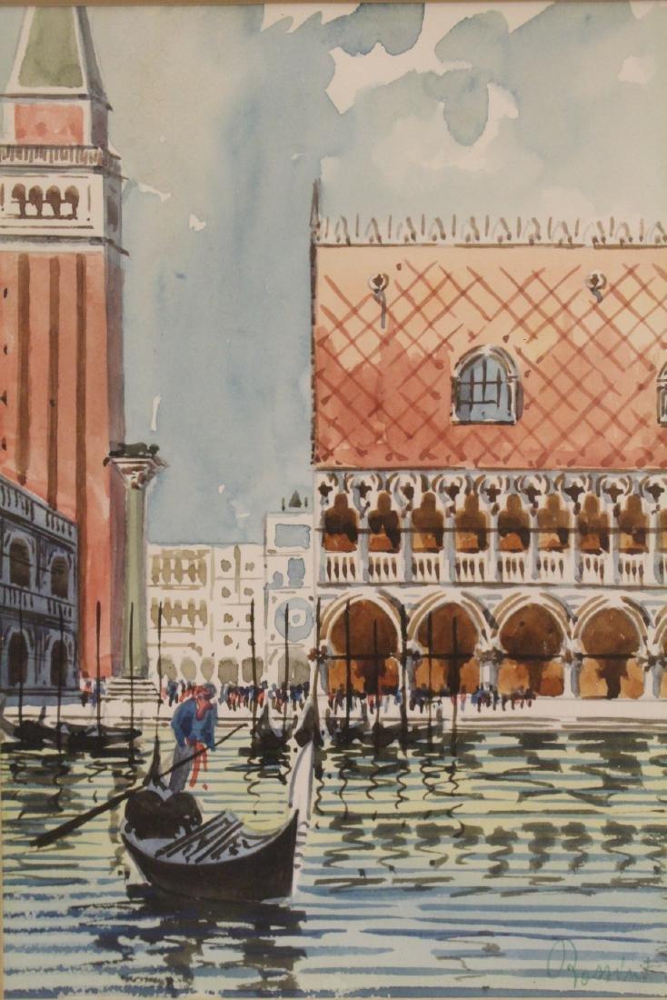 "2 framed watercolor ""Venice"" - 3"