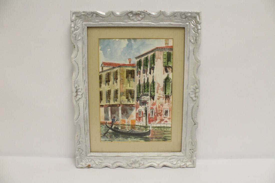 "2 framed watercolor ""Venice"" - 7"
