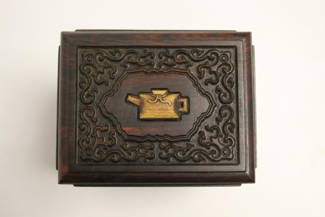 Chinese rosewood tea caddy - 5