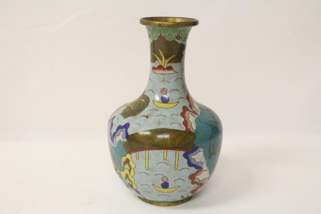 3 Chinese 19th/20th century cloisonne vases - 10