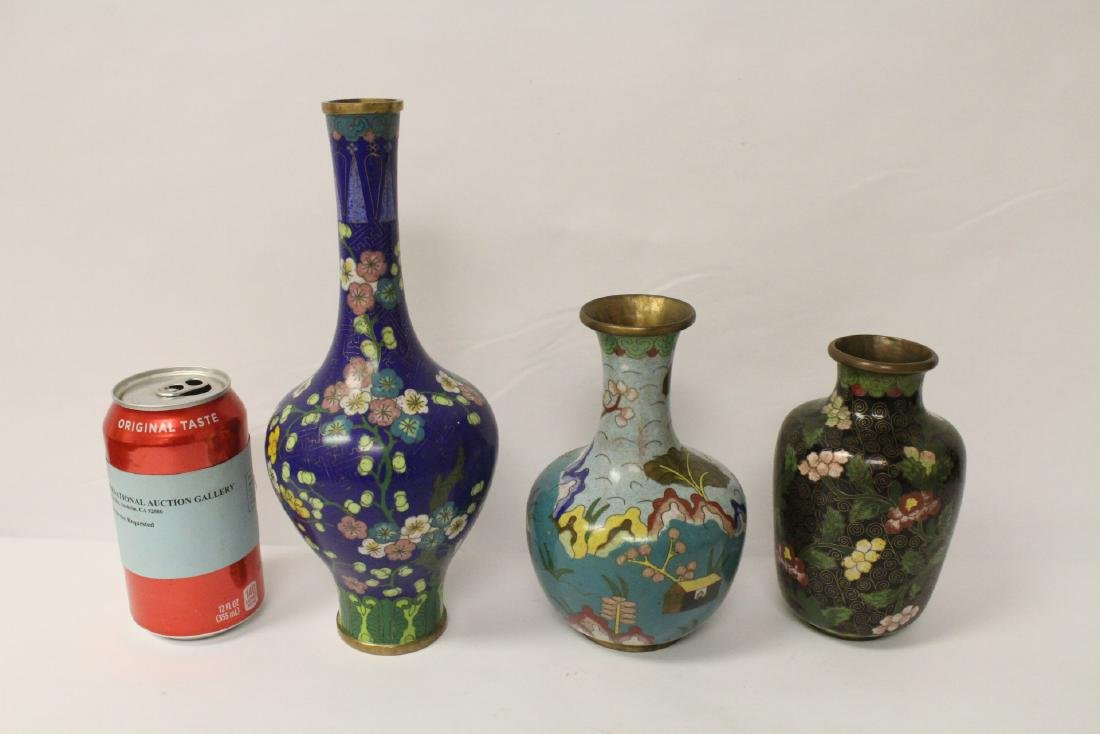 3 Chinese 19th/20th century cloisonne vases