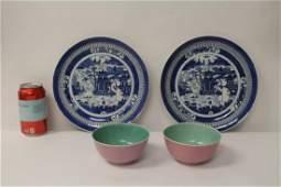 2 porcelain bowls & 2 antique export porcelain plates