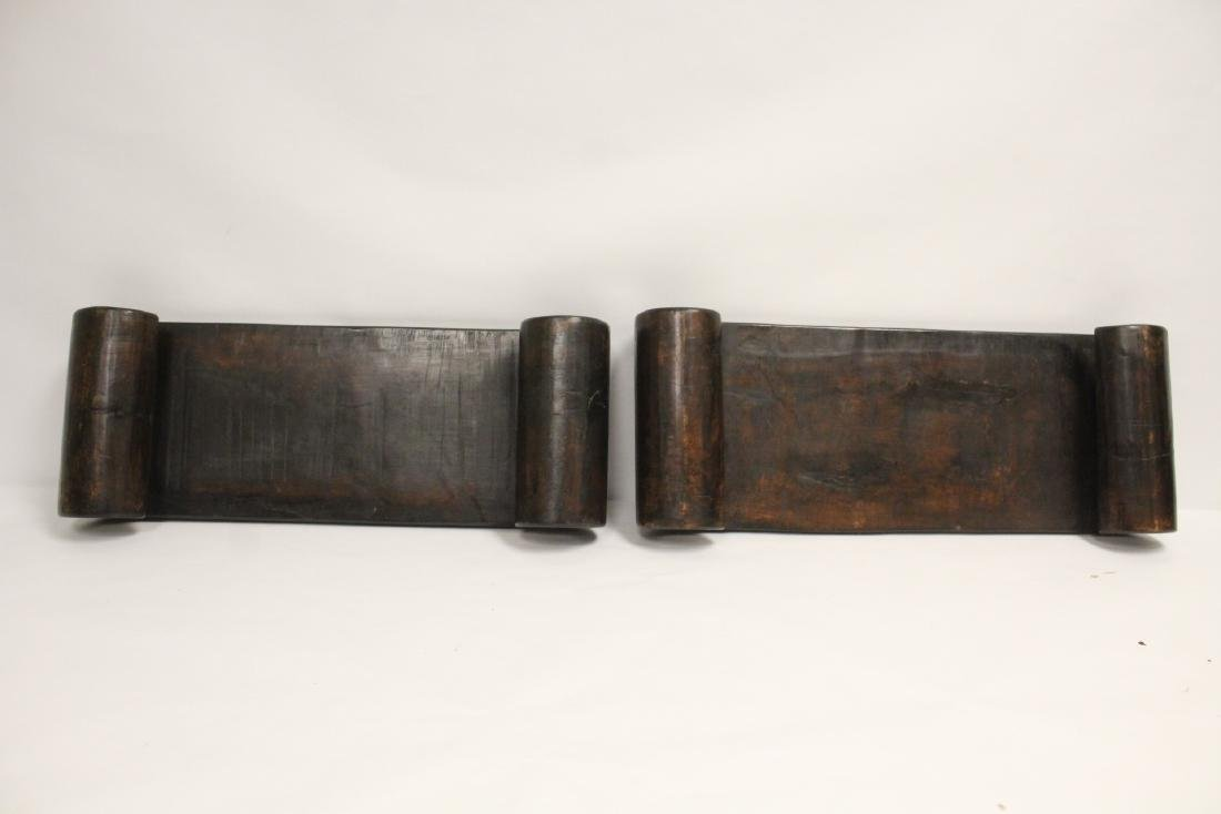 2 Chinese large scroll wood stands - 10