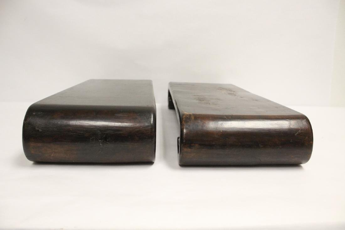 2 Chinese large scroll wood stands - 2