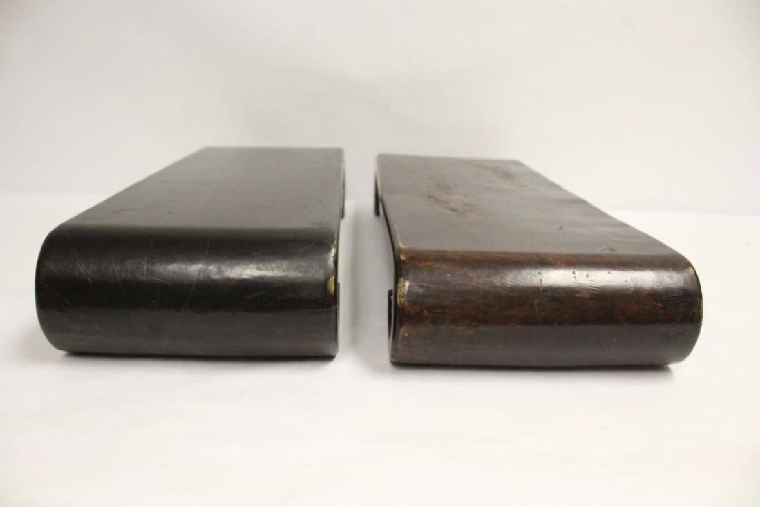 2 Chinese large scroll wood stands - 3