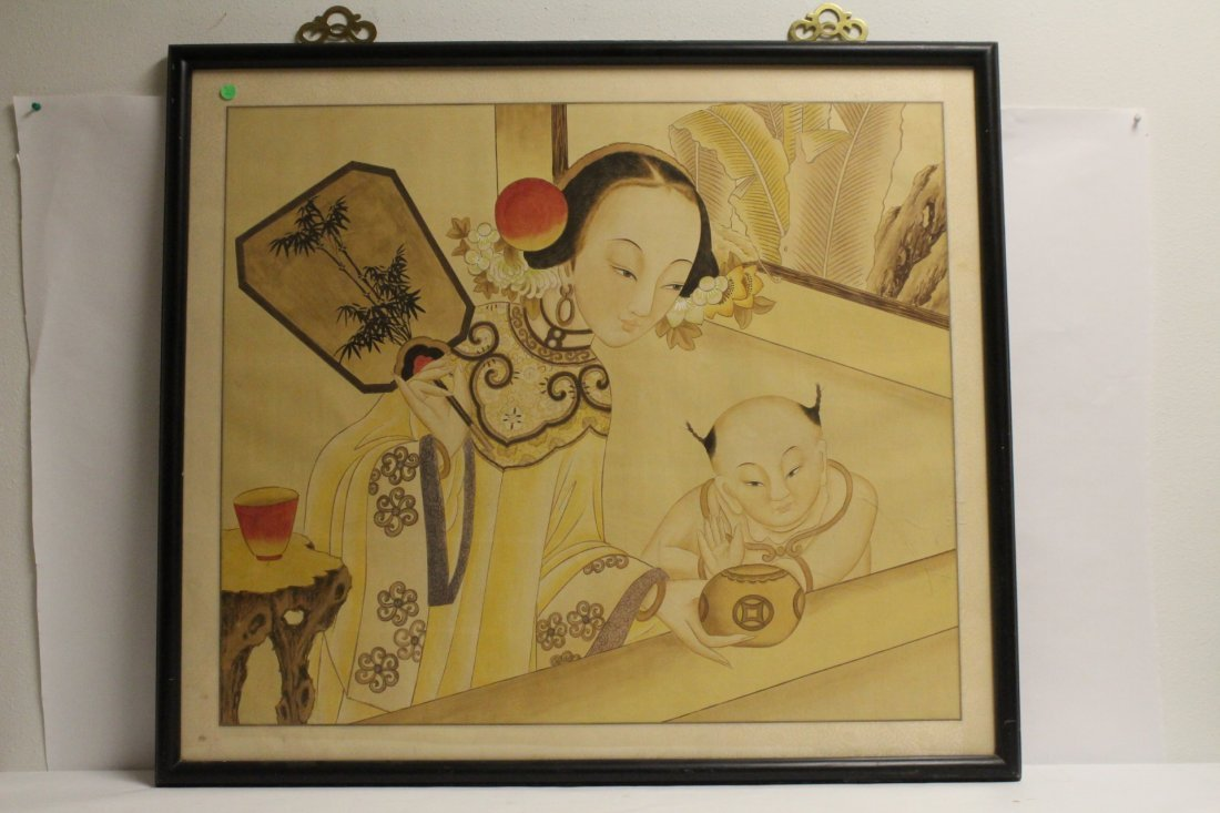 A framed Chinese watercolor