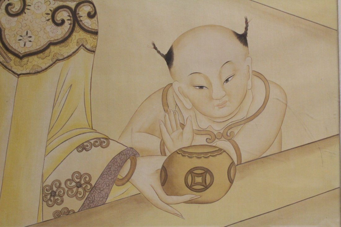 A framed Chinese watercolor - 5
