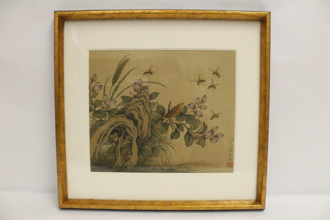 "A framed Chinese watercolor ""flowers"""