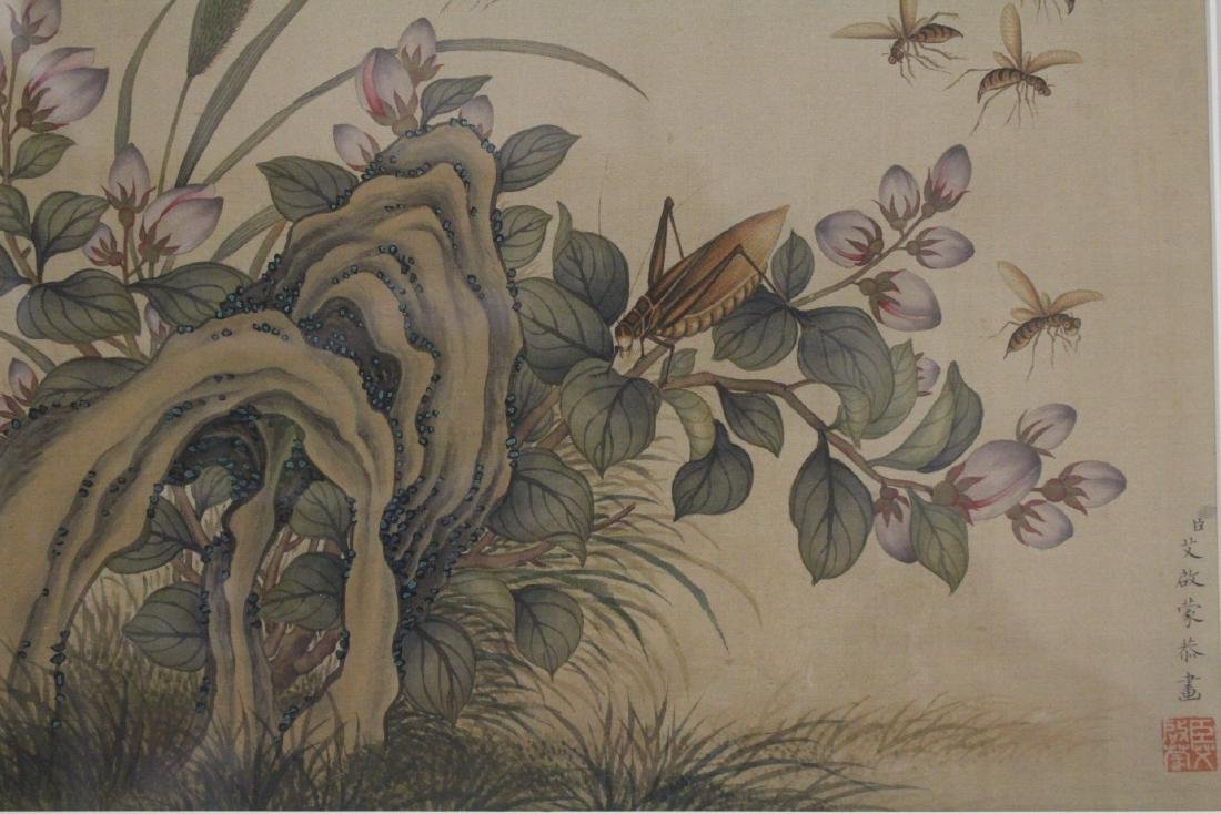 "A framed Chinese watercolor ""flowers"" - 3"