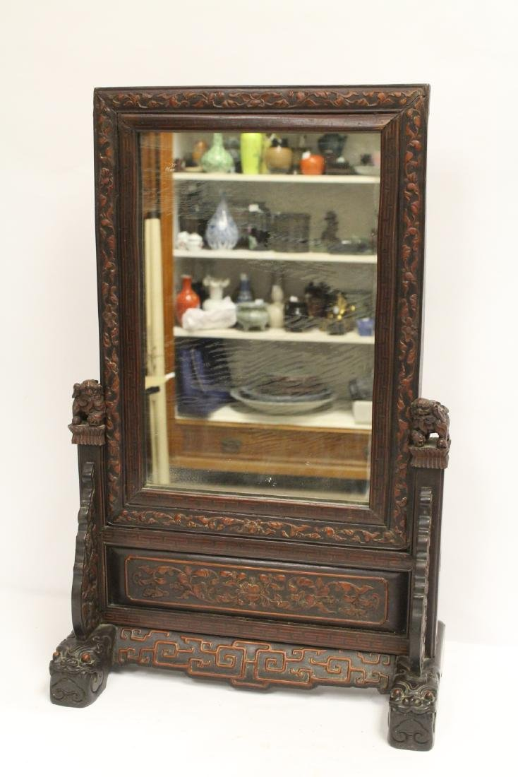 rosewood framed mirror with carved stand - 2