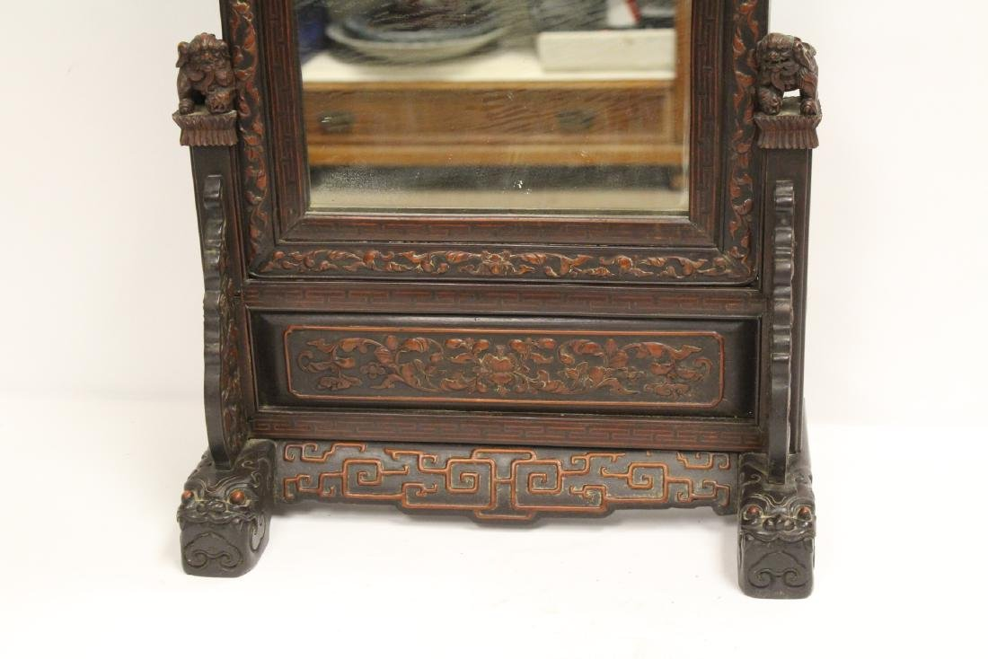 rosewood framed mirror with carved stand - 3