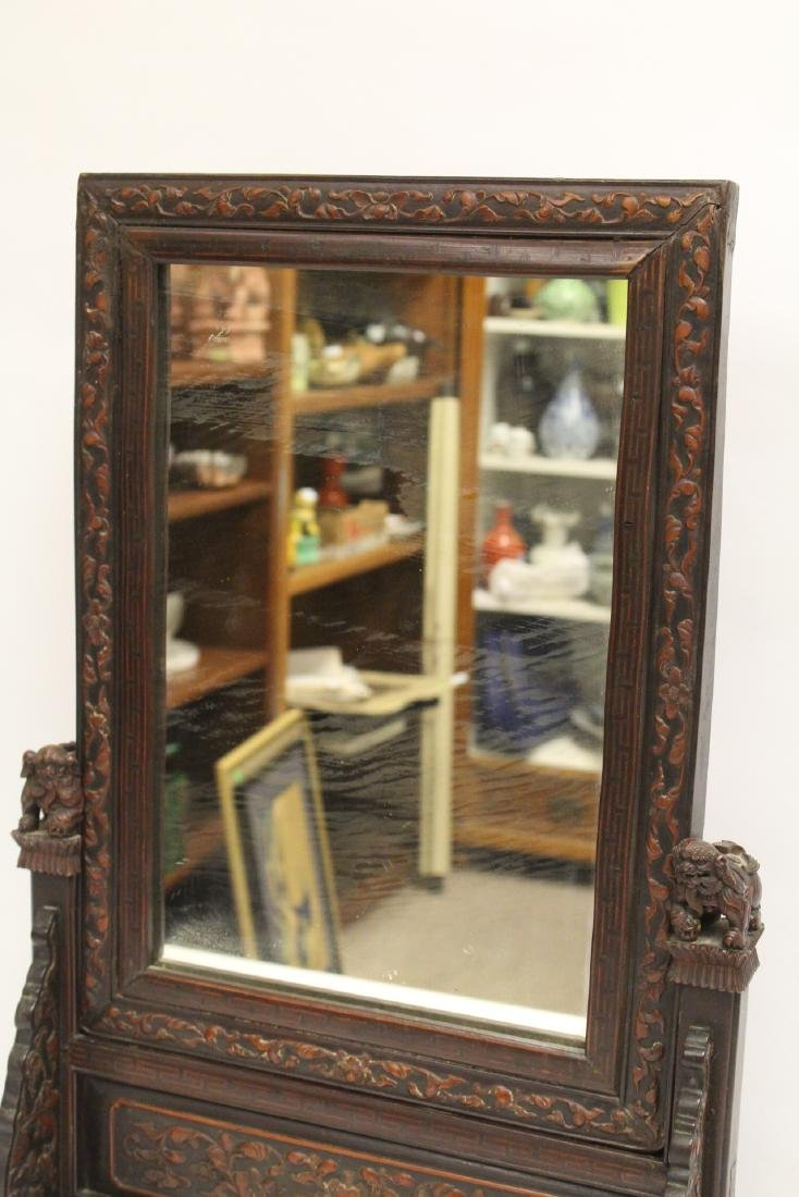 rosewood framed mirror with carved stand - 5