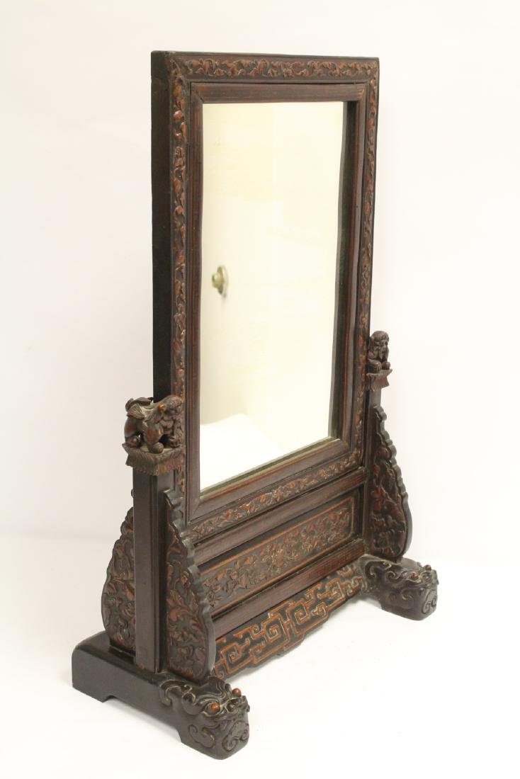 rosewood framed mirror with carved stand - 8