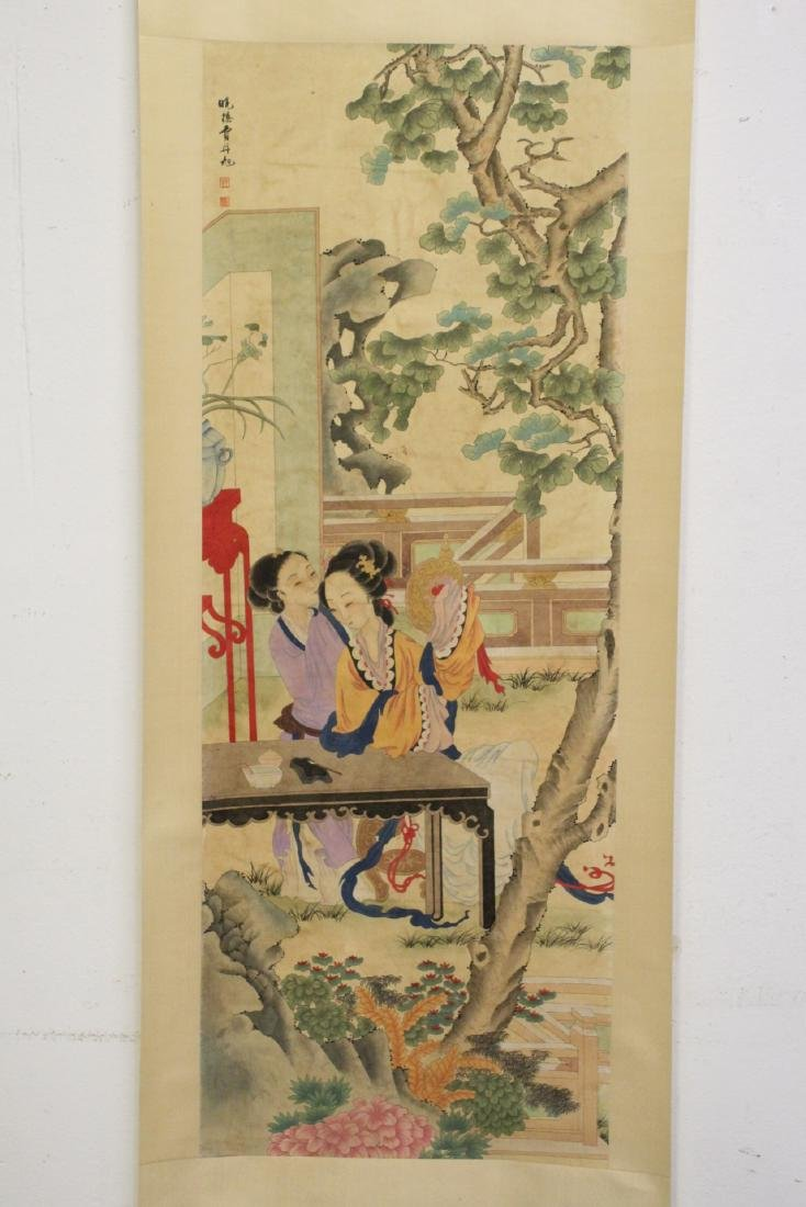 "Chinese watercolor scroll ""garden scene with lady"""