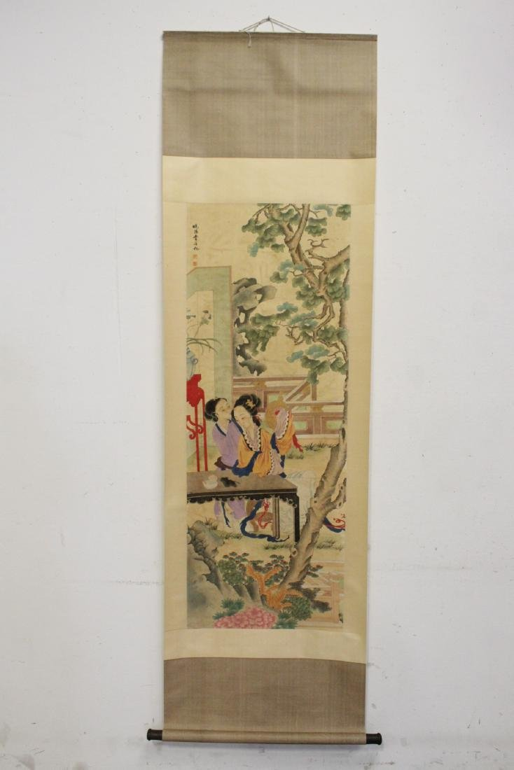 "Chinese watercolor scroll ""garden scene with lady"" - 2"