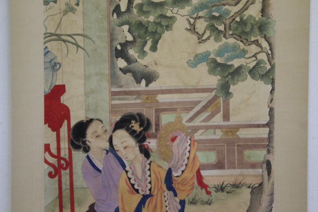"Chinese watercolor scroll ""garden scene with lady"" - 4"