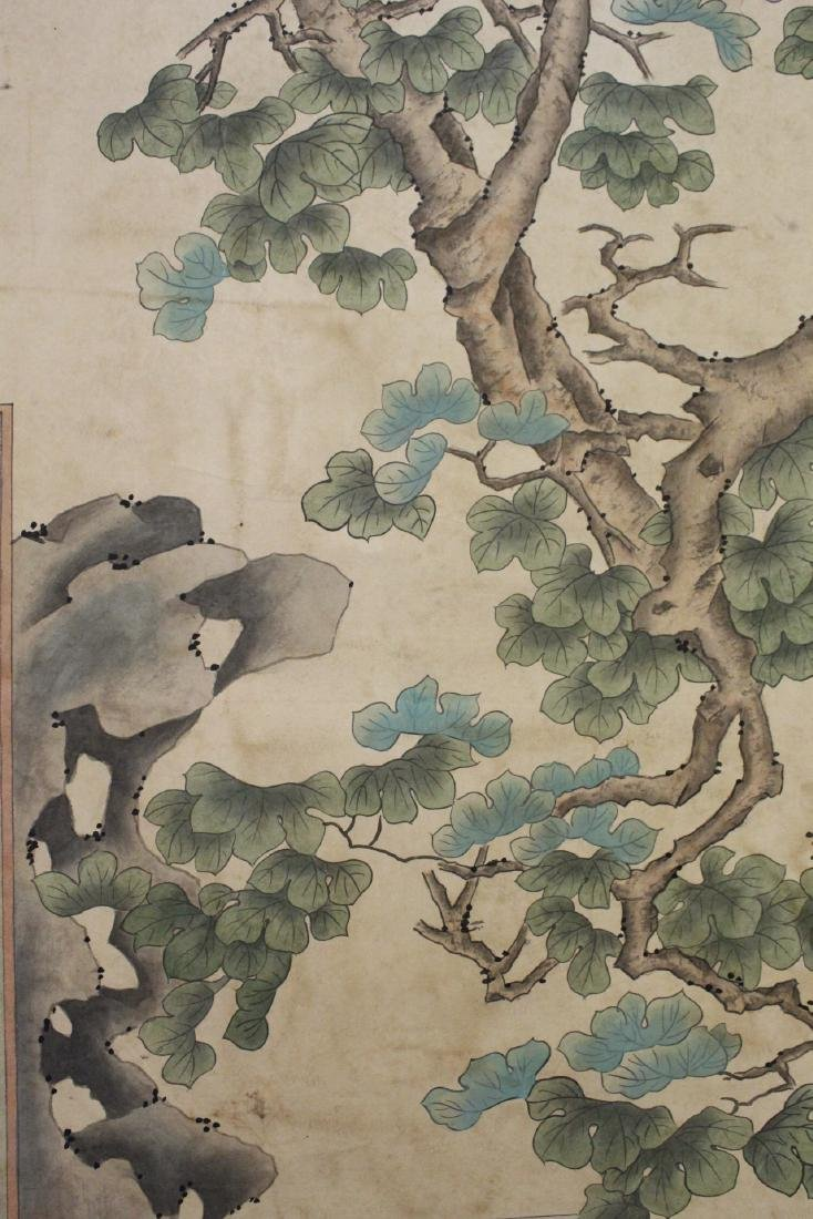 "Chinese watercolor scroll ""garden scene with lady"" - 8"