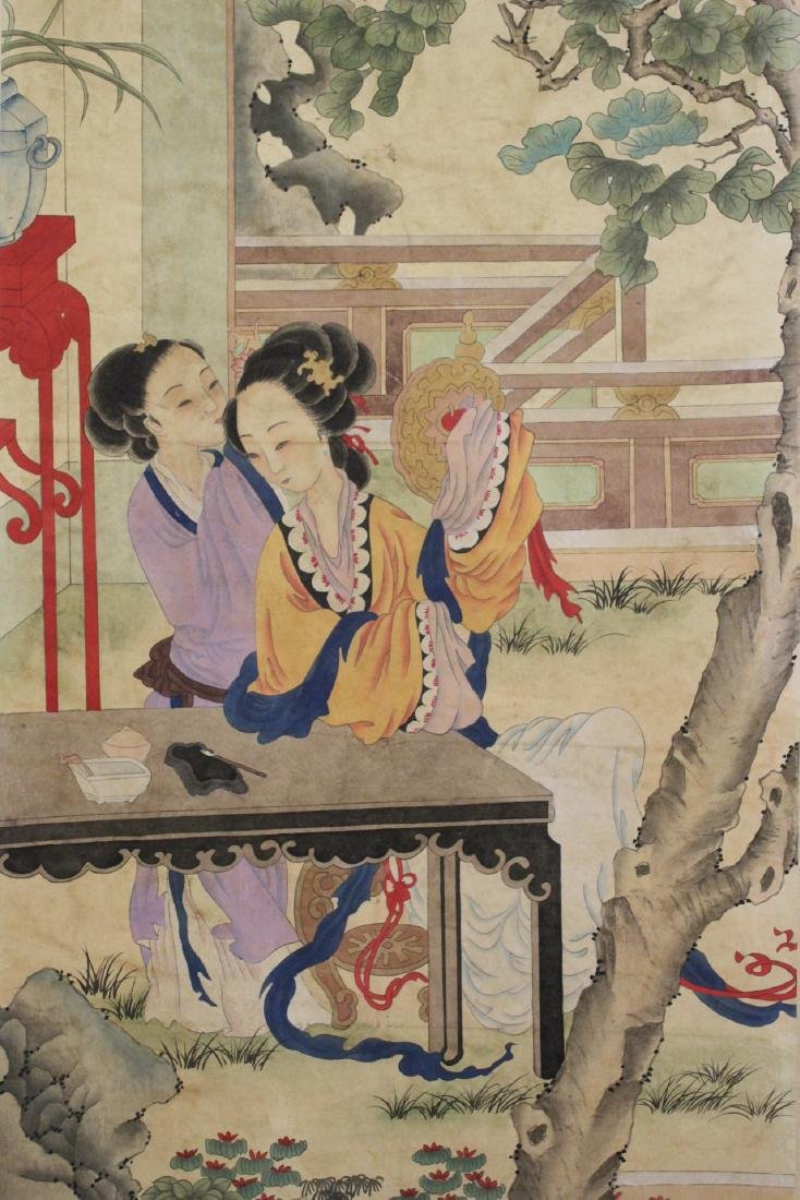 "Chinese watercolor scroll ""garden scene with lady"" - 9"