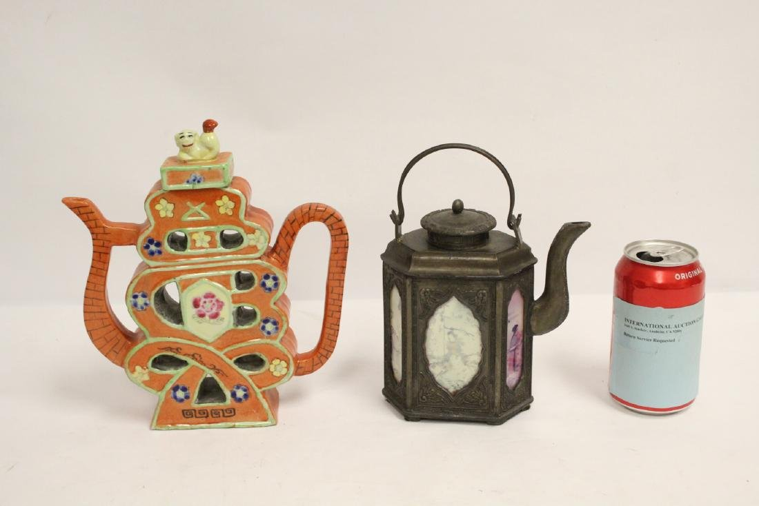 Chinese pewter teapot, and a porcelain teapot