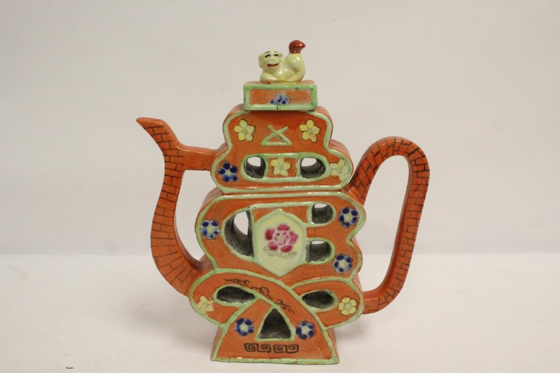 Chinese pewter teapot, and a porcelain teapot - 6